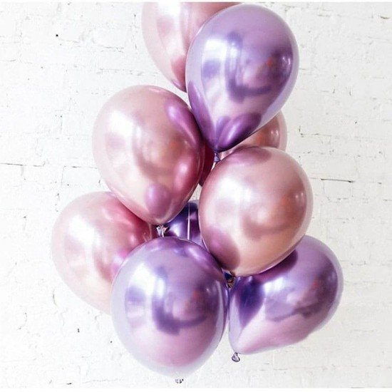 Шары под потолок Хром фиолетовые и  Розовые