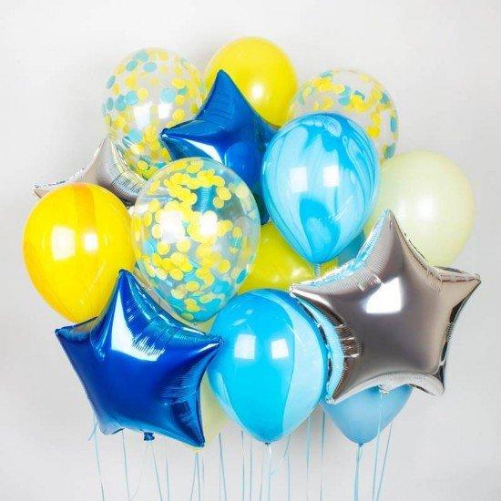 Композиция из воздушных шаров Голубой агат