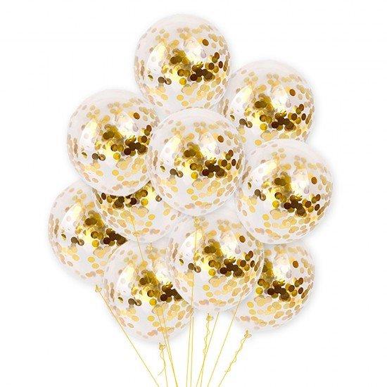 Облако воздушных шаров Золото Конфетти