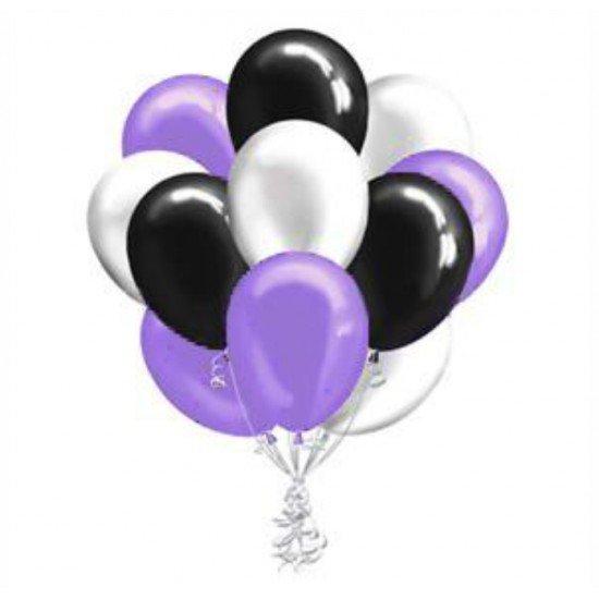 Облако  Серебристых, Черных и Фиолетовых воздушных шаров