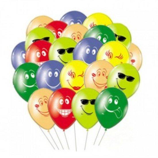 Облако воздушных шаров Смайлы разноцветные