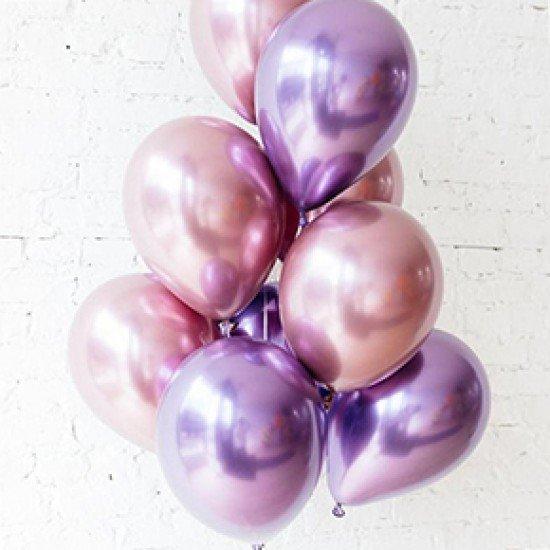 Облако воздушных шаров Хром  Розовые и фиолетовые