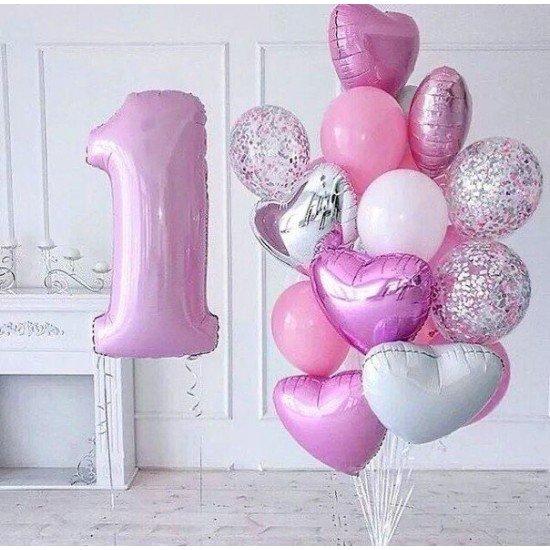 Композиция из воздушных шаров Розовое годовасие