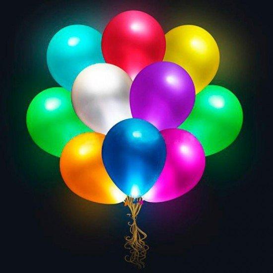 Облако воздушных шаров Ассорти с мигающими разноцветными светодиодами