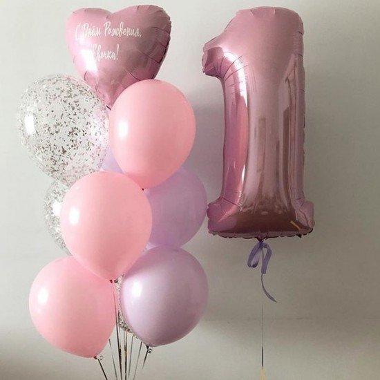 Композиция из воздушных шаров Самый первый день рождения