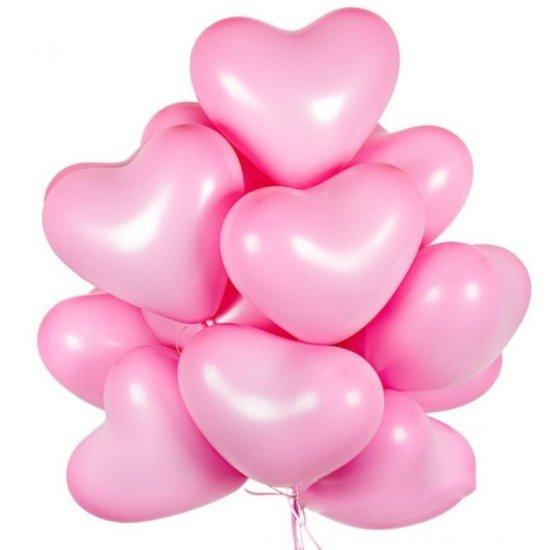Облако воздушных шаров Сердца Розовые, 38 см