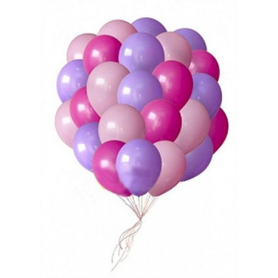 Облако воздушных шаров Фуше, Сиреневых и Розовых