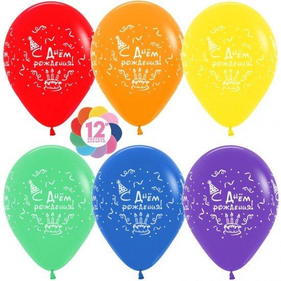 Облако воздушных шаров С днем рождения, торт, серпантин