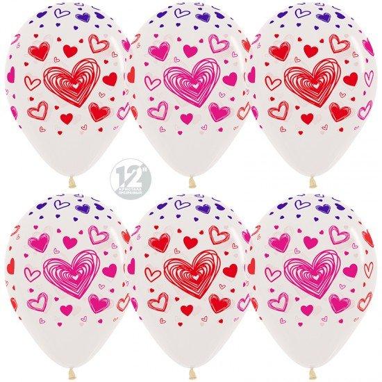 Облако воздушных шаров Прозрачные с сердцами