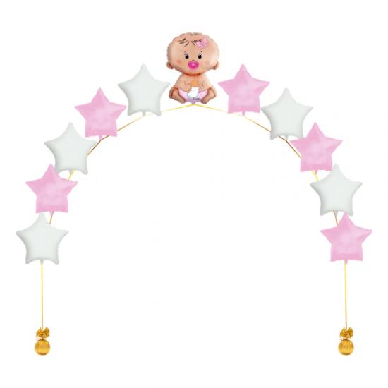 Гирлянда из фольгированных воздушных шаров К рождению девочки