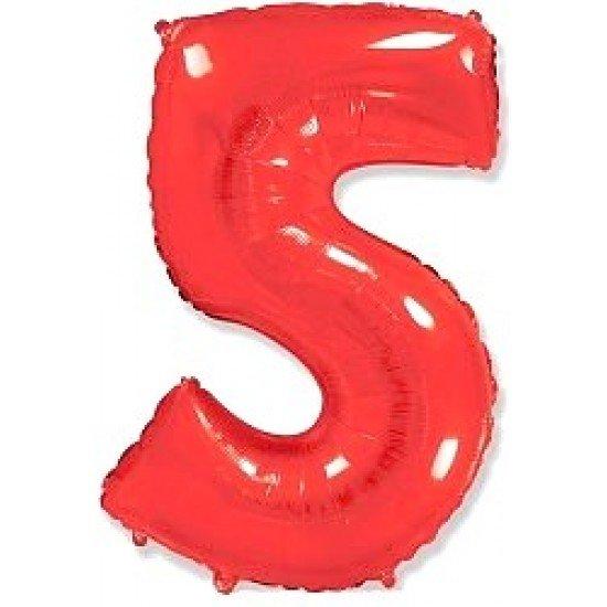 """Шар """"Цифра 5"""" Красная, 102 см"""