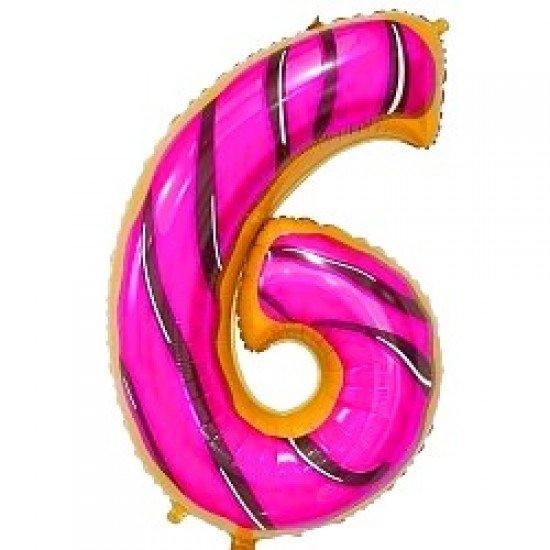 "Шар ""Цифра 6"" Пончик, 86 см"