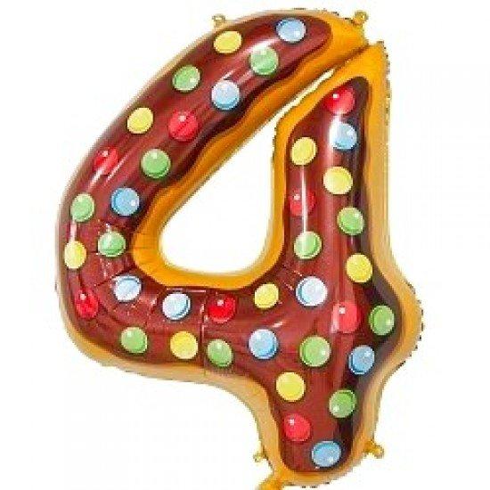 "Шар ""Цифра 4"" Пончик, 86 см"