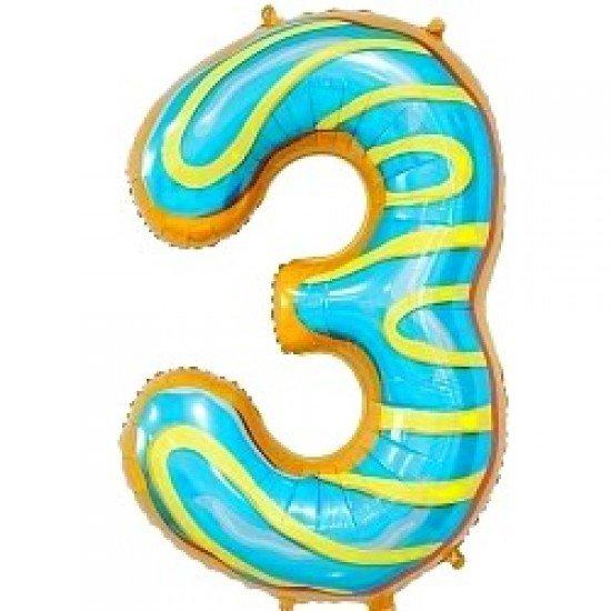 "Шар ""Цифра 3"" Пончик, 86 см"