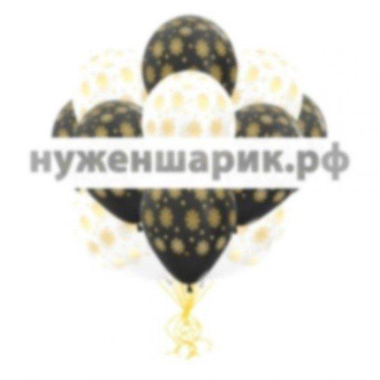 Облако воздушных шаров Снежинки Золотые