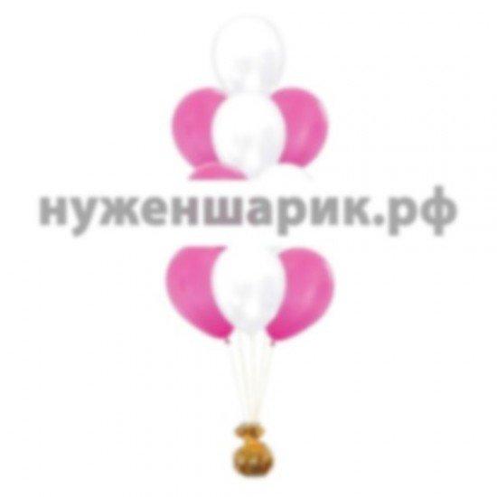 Фонтан из Розовых и Белых воздушных шаров Металлик