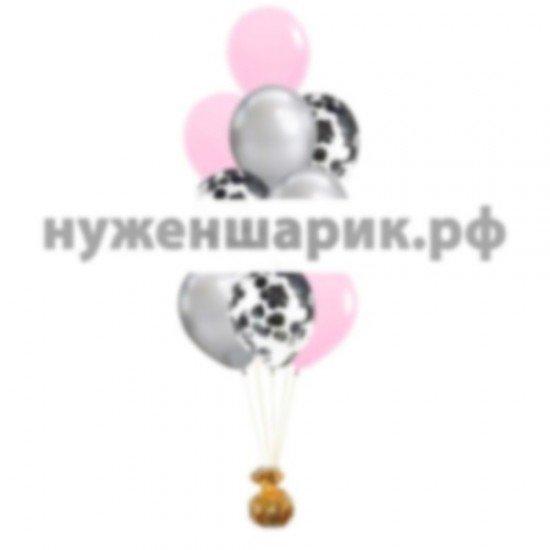 Фонтан из Розовых, Серебристых и Прозрачных воздушных шаров с Конфетти