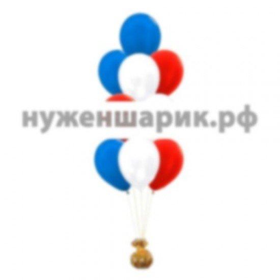 Фонтан  из Синих, Красных и Белых воздушных шаров Металлик