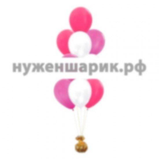 Фонтан из Розовых и Белых и Фуше воздушных шаров Металлик