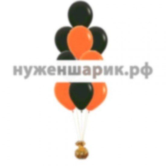 Фонтан из Оранжевых и Черных воздушных шаров