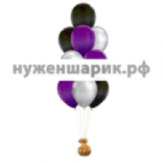 Фонтан из Серебристых, Черных и Фиолетовых воздушных шаров Металлик