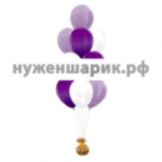 Фонтан из Сиреневых, Фиолетовых и Белых воздушных шаров