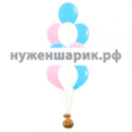 Фонтан из Розовых, Белых и Голубых воздушных шаров