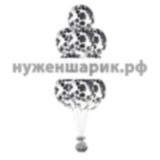 Фонтан из Прозрачных воздушных шаров с Конфетти Серебро крупное