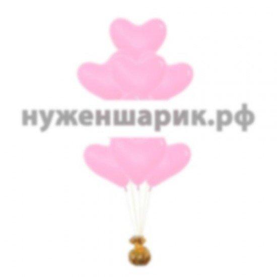 Фонтан из воздушных шаров Сердца Розовые