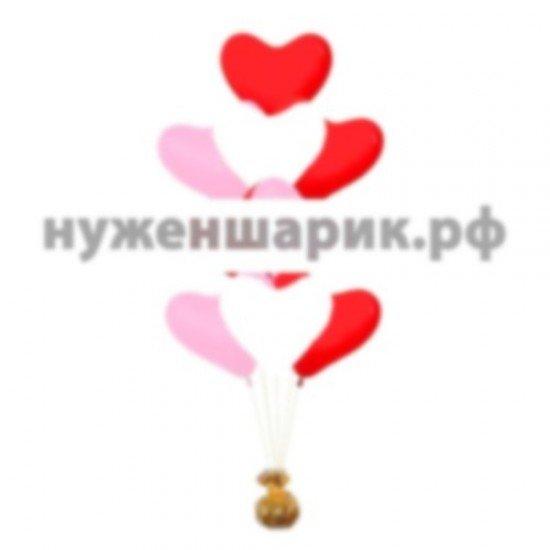 Фонтан из воздушных шаров Сердца Ассорти