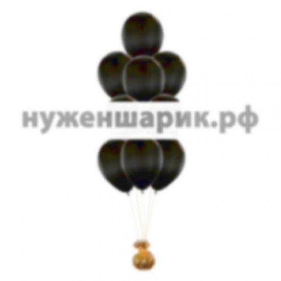 Фонтан из Черных воздушных шаров Металлик