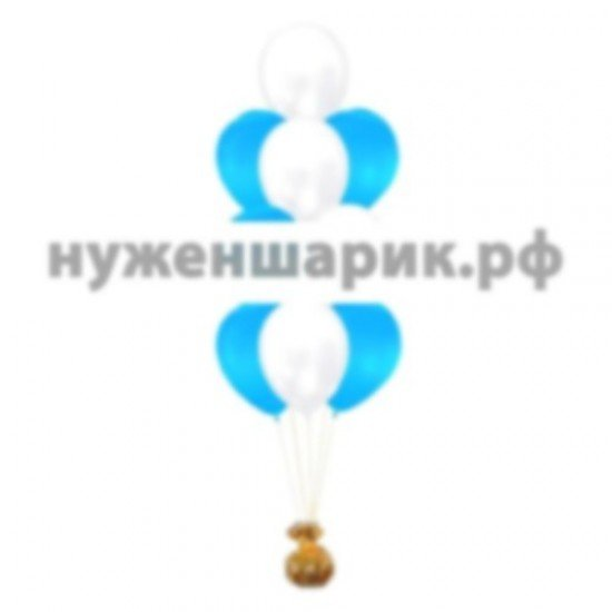 Фонтан из Белых и Голубых воздушных шаров Металлик