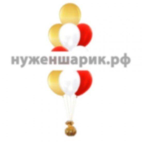 Фонтан из Белых, Красных и Золотых воздушных шаров