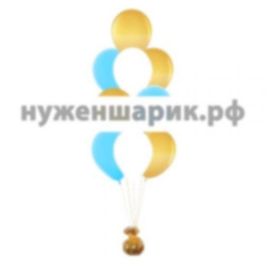 Фонтан из Белых, Золотых и Тиффани воздушных шаров