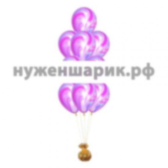 Фонтан из мраморных Сиренево-Голубых воздушных шаров