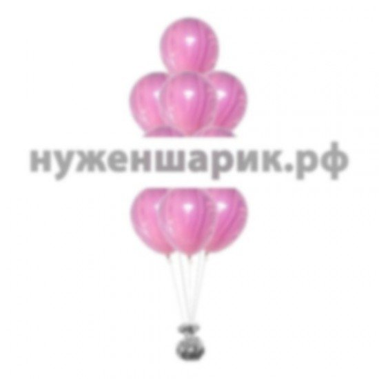 Фонтан из мраморных Сиреневых воздушных шаров