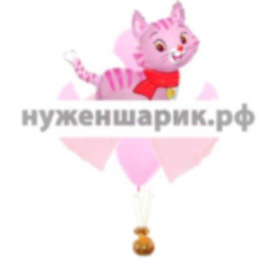 Букет из воздушных шаров Котенок розовый