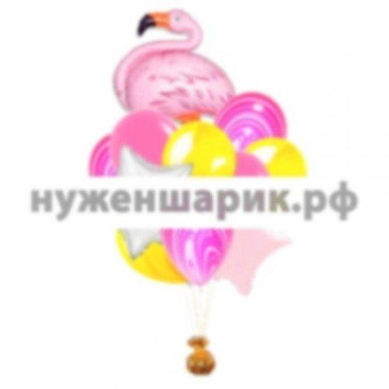 Связка из воздушных шаров Яркий Фламинго