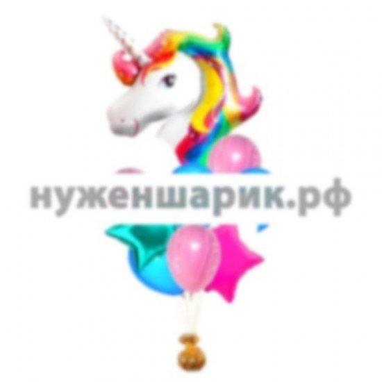Связка из воздушных шаров Радужный единорог
