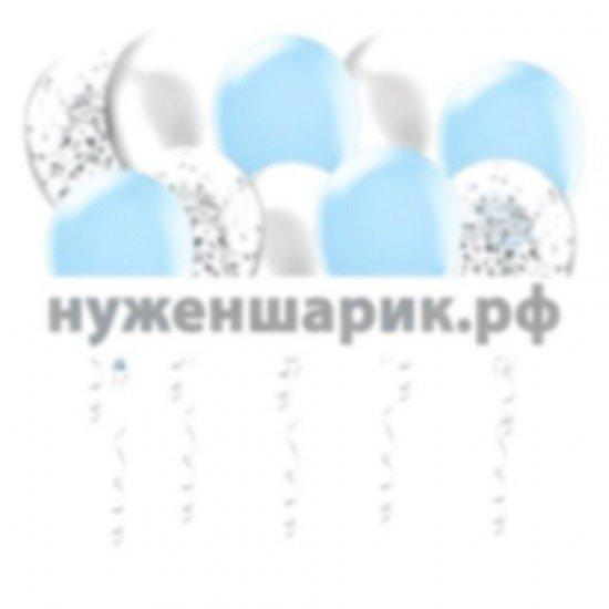 Шары под потолок Голубых, Серебристых и Прозрачных воздушных шаров с Конфетти