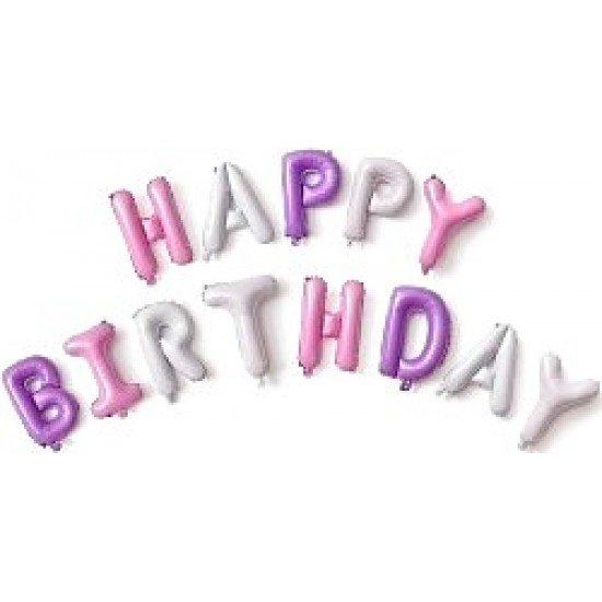 """Шар Надпись из букв """"Happy Birthday"""" для девочки, 41 см"""