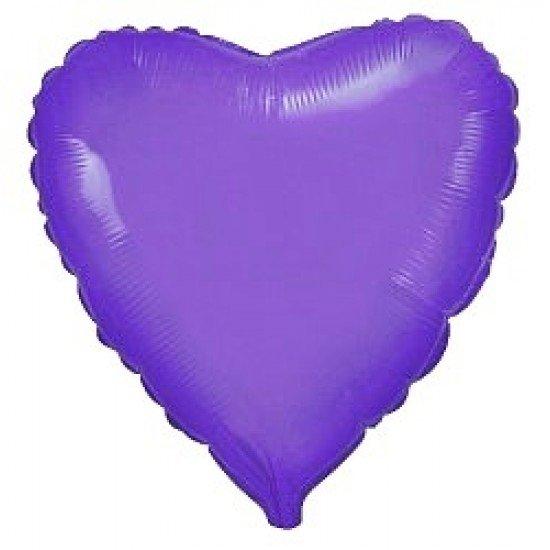 Шар из фольги, Сердце, Фиолетовый, 46 см