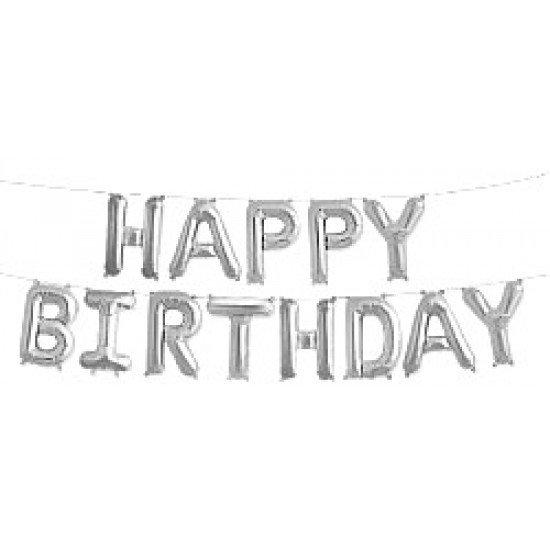 """Шар Надпись из букв """"Happy Birthday"""", Серебро, 41 см"""