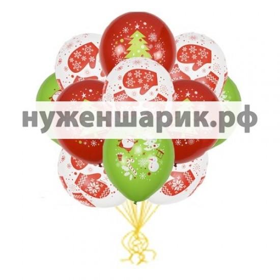 Облако воздушных шаров С Новым Годом