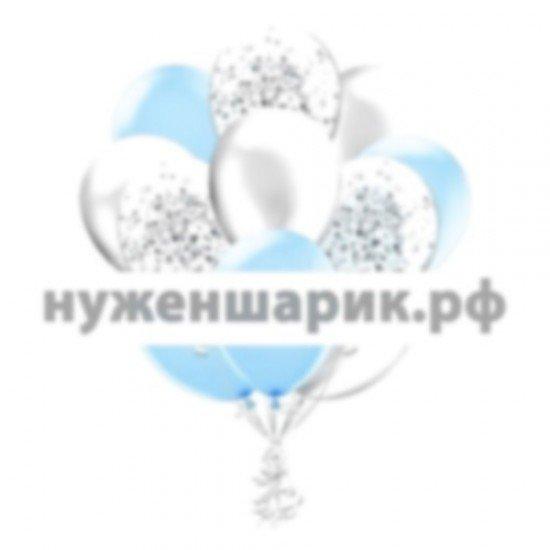 Облако Голубых, Серебристых и Прозрачных воздушных шаров с Конфетти