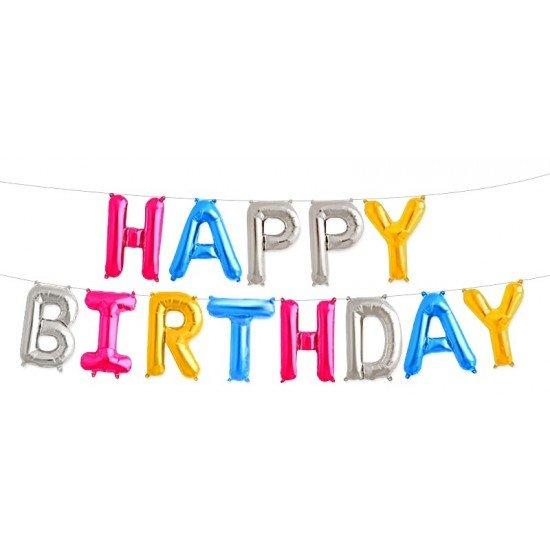 """Шар Надпись из букв """"Happy Birthday"""", ассорти цветов, 35 см"""