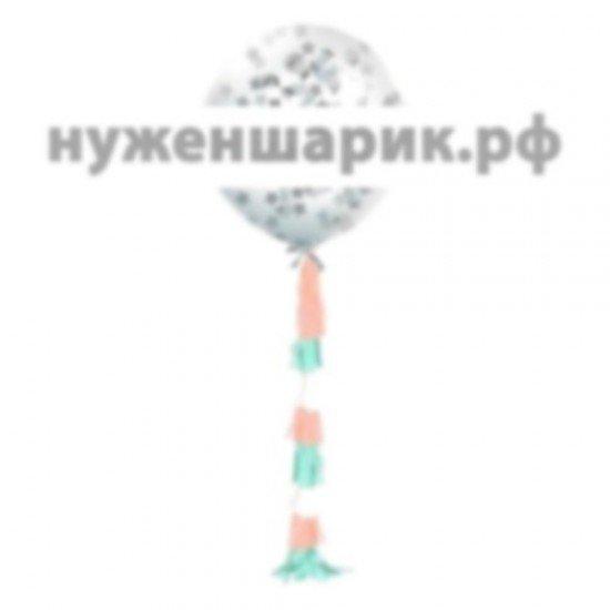 Огромный шар с гирляндой тассел и серебряным конфетти звезды, 76 см