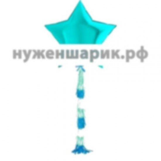 Звезда из фольги с гирляндой тассел Тиффани, 81 см