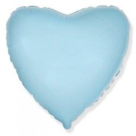 Шар из фольги, Сердце, Голубое, 46 см