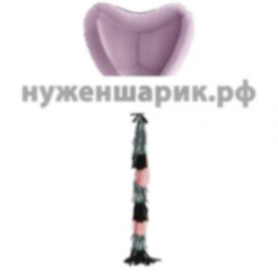 Сердце из фольги с гирляндой тассел Сиреневое, 81 см